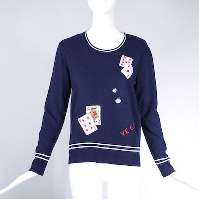 Vintage LeRoy Knit Novelty Vegas-Themed Sweater Top