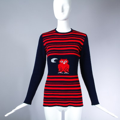 Vintage 1970's Striped Pullover Novelty Sweater