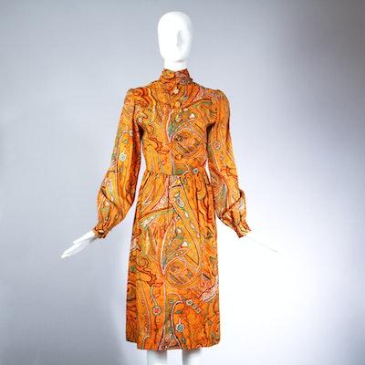 1970s Donald Brooks Paisley Print Day Dress