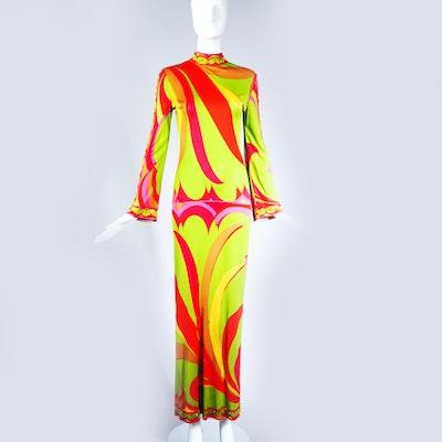 Vintage 1970s Emilio Pucci Bodycon Printed Maxi Dress