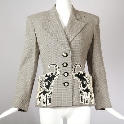 Vintage Valentino Jacket with Appliqued, Beaded Elephants