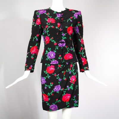 Vintage Ungaro Silk Quilted Floral Print Skirt & Jacket Suit