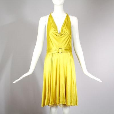 Gianni Versace Chartreuse Halter Neck Cocktail Dress