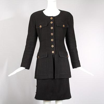Vintage Chanel Black Cotton Jacket & Skirt Ensemble
