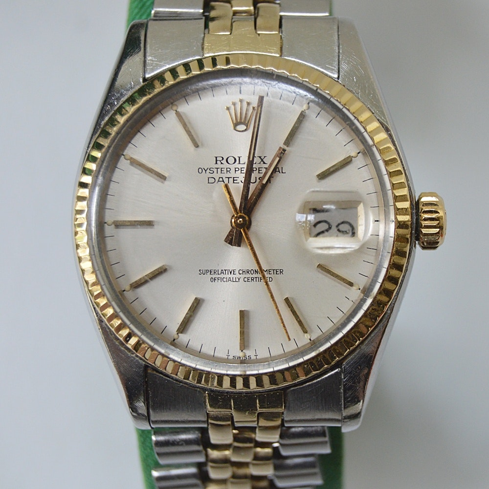 Rolex Oyster Perpetual DateJust Wristwatch with 14k Gold Trim