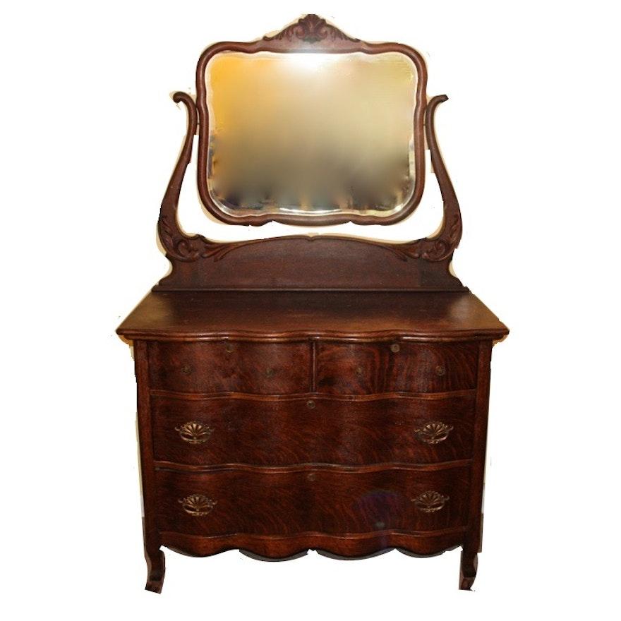 Antique Flame Oak Wave Front Dresser Ebth