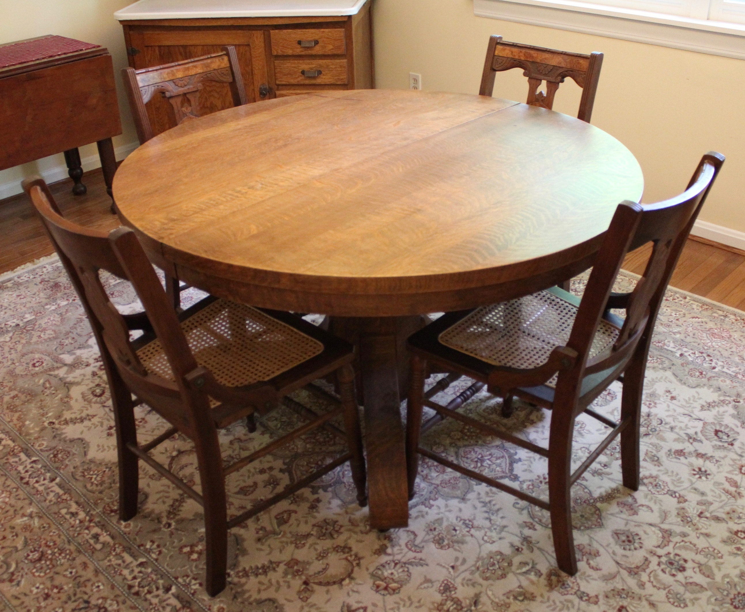 Antique Oak Dining Table and Chairs EBTH
