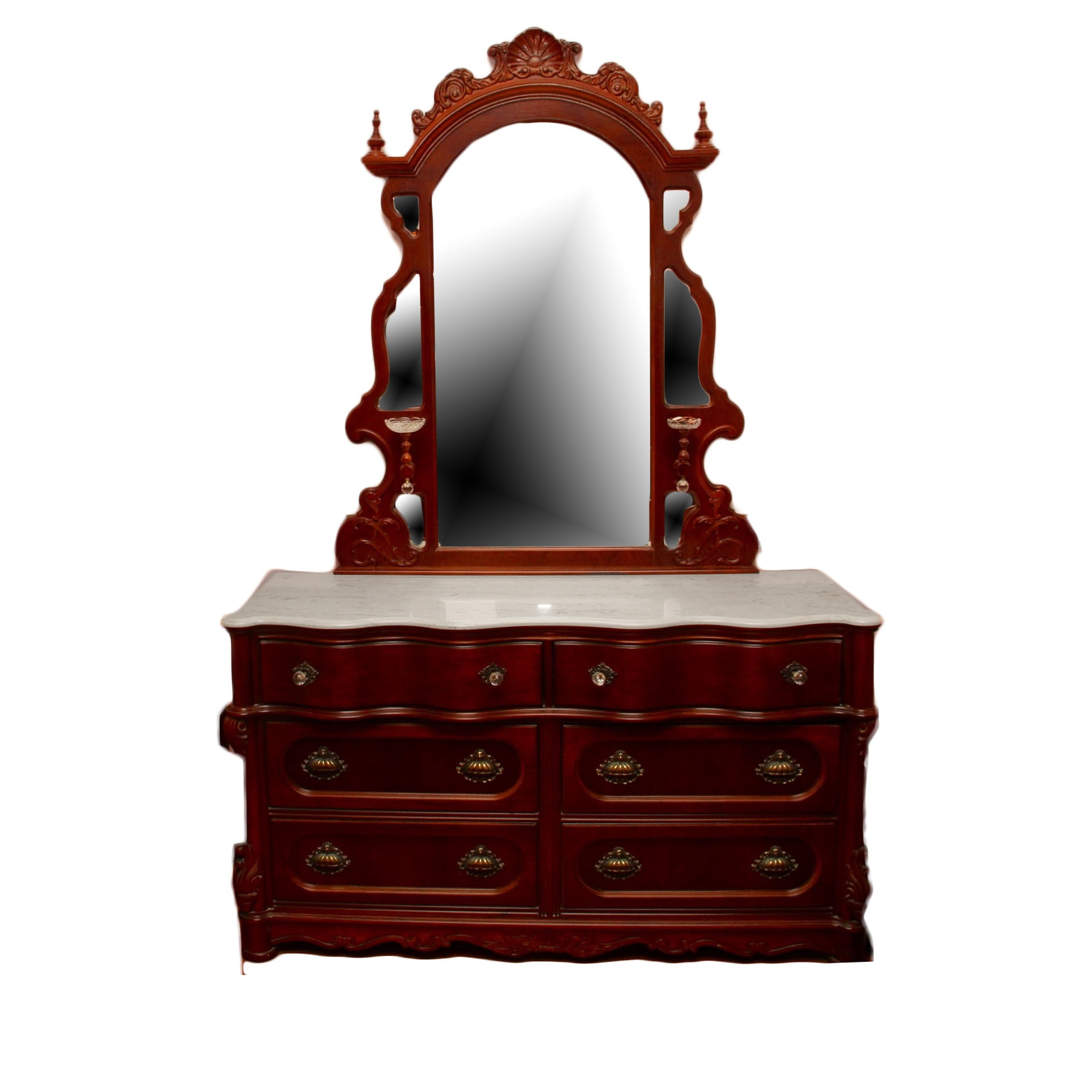 High Quality Pulaski Furniture Mahogany Reproduction Victorian Style Marble Top Dresser  With Mirror ...