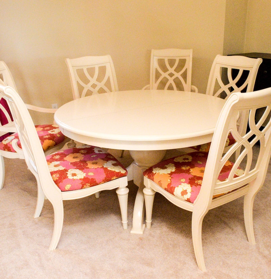 White painted wood pedestal dining table with six chairs for White painted dining table