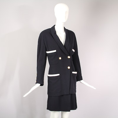 Vintage Chanel Double Breasted Fitted Jacket & Skirt Ensemble