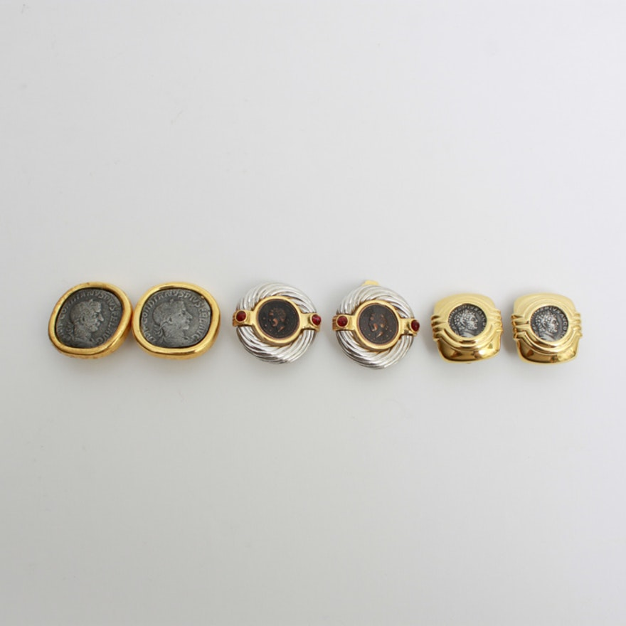 Collection of Ancient Coin Costume Earrings
