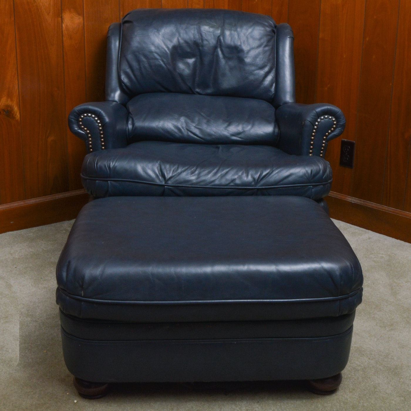 Navy Blue Leather Armchair and Ottoman : EBTH