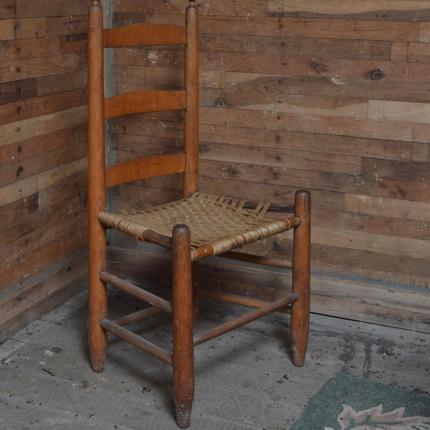 Primitive Shaker Style Ladder Back Chair With Woven Seat ...