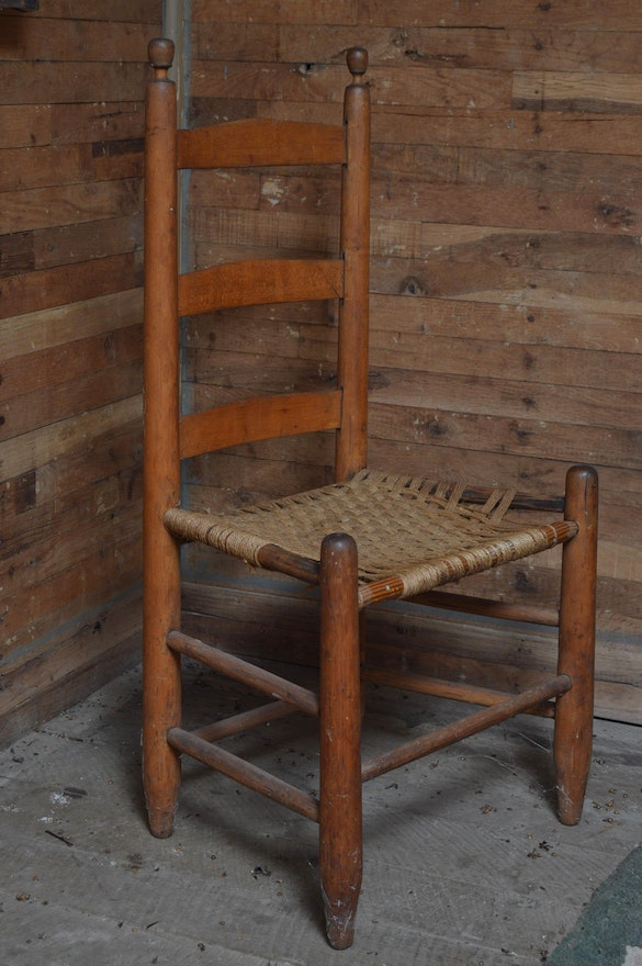 Primitive Shaker Style Ladder Back Chair With Woven Seat