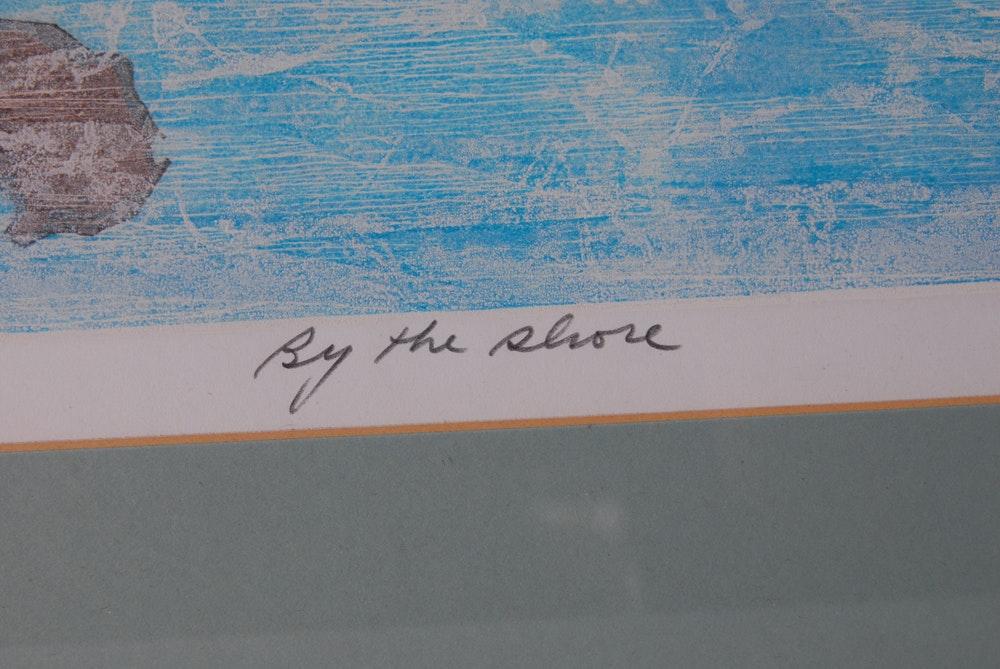 Rocco Negri Quot By The Shore Quot Woodblock Print Ebth