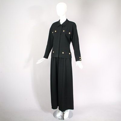 Vintage Chanel Jacket and Pants Ensemble with Logo Button Design