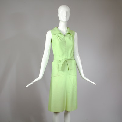 Vintage Courreges Green Sleeveless Belted Day Dress