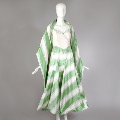 1990s Richard Tyler Couture Silk Taffeta Formal Evening Dress