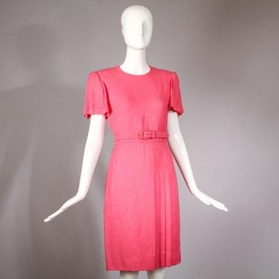 Vintage Carolina Herrera Tailored Pink Linen Day Dress