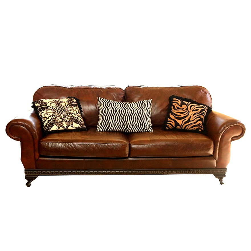 Coaster Leather Sofa With Claw Feet