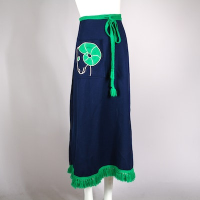 Vintage Novelty Zodiac Aries Wool Wrap Skirt with Appliqued Ram