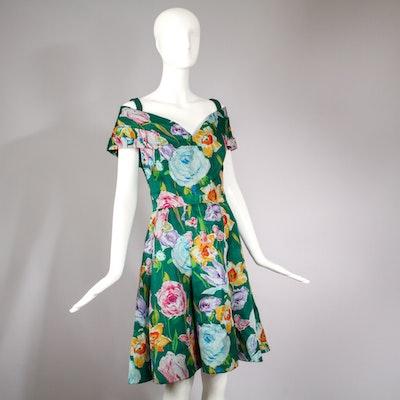 Vintage Arnold Scaasi Floral Silk Garden Party Cocktail Dress