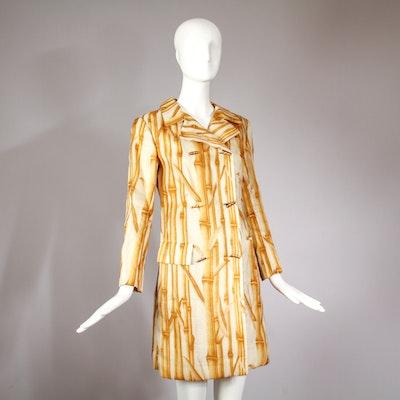 1970s Bill Blass Bamboo Print Double Breasted Coat Jacket