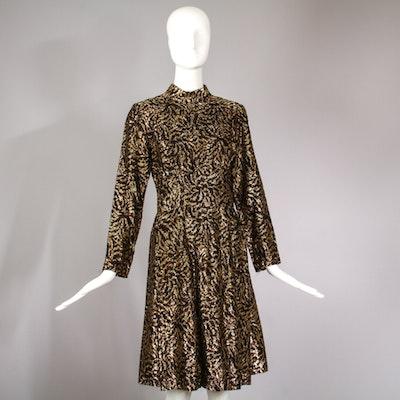 1970s Lillie Rubin Black & Gold Cocktail Dress