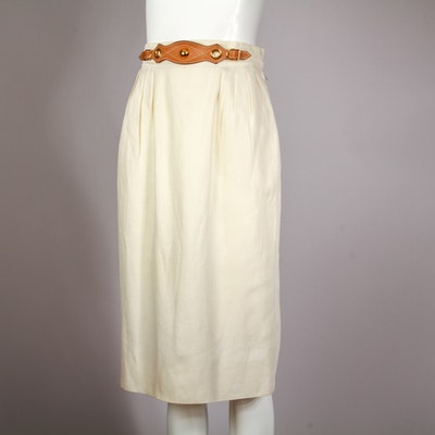 Vintage Hermès Paris Linen Pencil Skirt