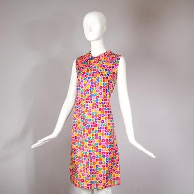 Vintage 1970's Christian Dior Paris Logo Print Silk Day Dress