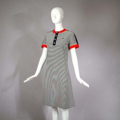 1970s Vintage Lacoste Striped Chemise Scooter Day Dress