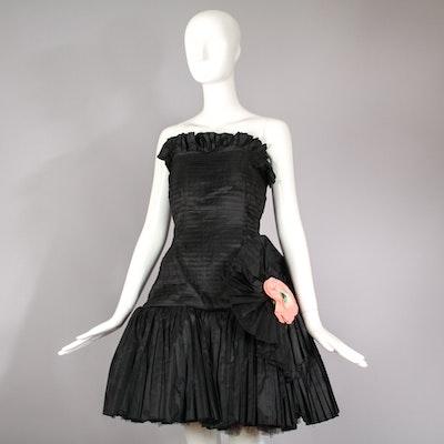 Vintage 1980s Oscar de la Renta Silk Taffeta Party Dress