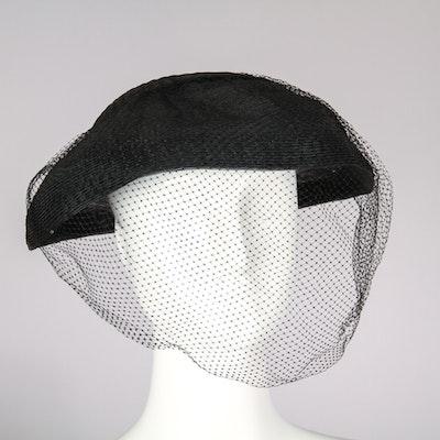 Women's Vintage Hattie Carnegie Hat with Attached Veil