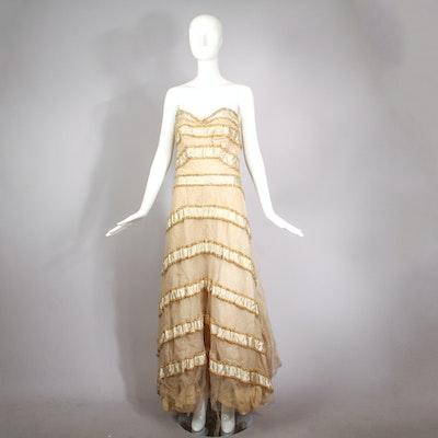 Vintage 1950s Silk and Tulle Straples Evening Dress