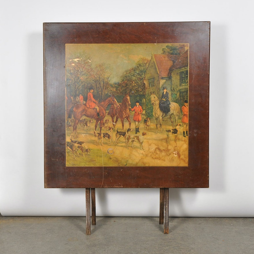Vintage Wooden Folding Card Table with Equestrian Scene   EBTH