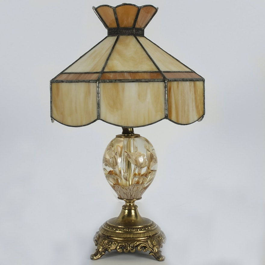 Vintage Joe St  Clair Blown Glass Paperweight Lamp With Slag Glass Shade