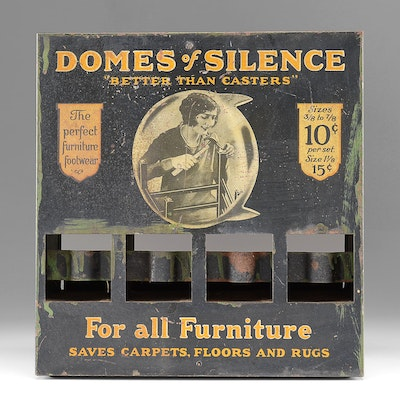 """Rare Advertising Tin Display for """"Domes of Silence"""" Eames Chair Feet"""