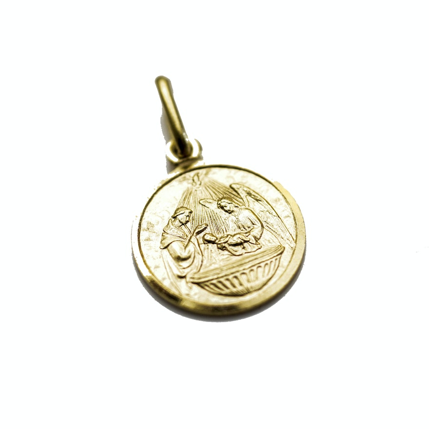 medallion item yellow unisex baptism buy gold pendant small