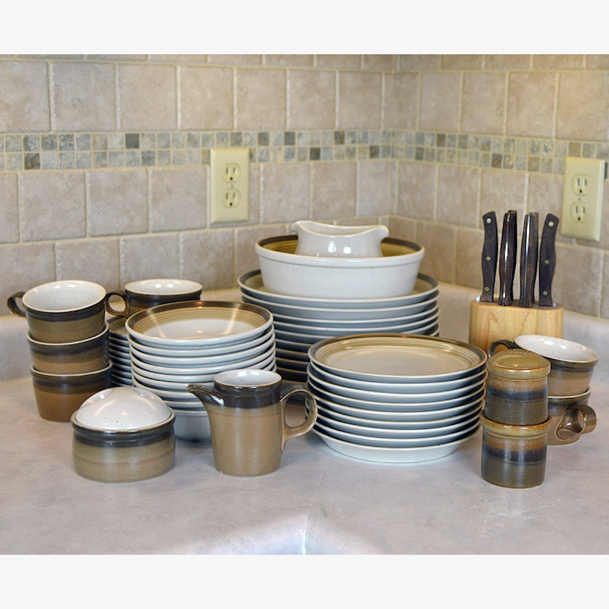Mikasa Potters Art Dish Set In The Buckskin Pattern With Chicago