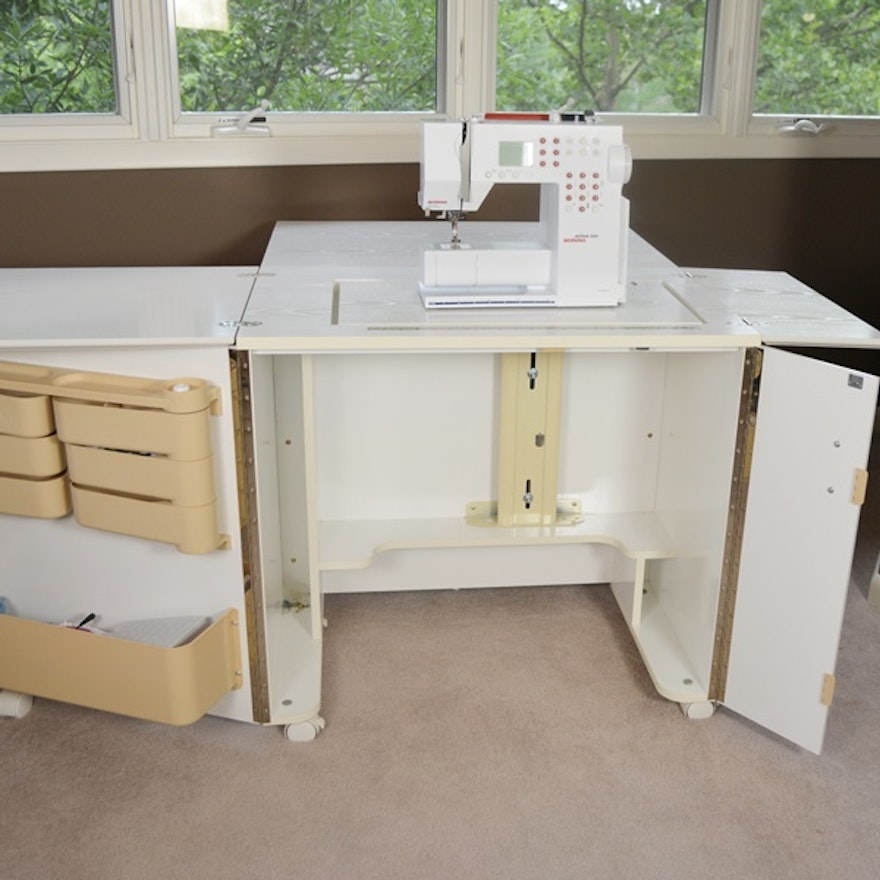 bernina sewing machine sewing cabinet and carrying case ebth. Black Bedroom Furniture Sets. Home Design Ideas