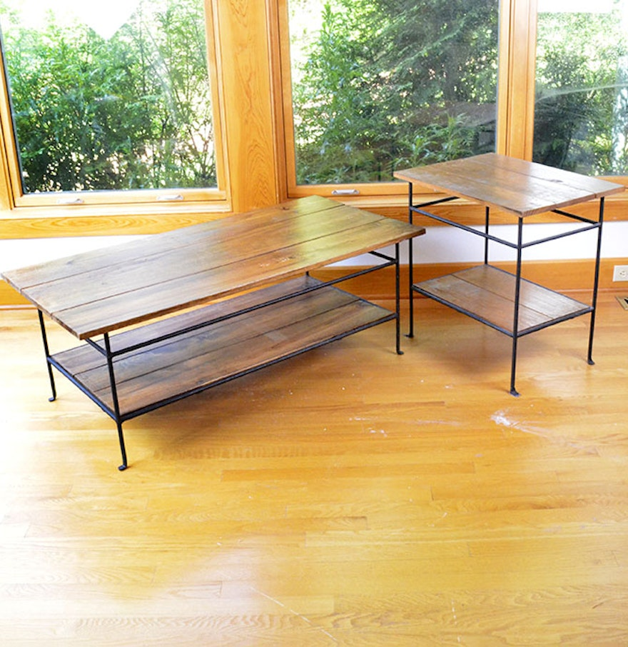 Modern Wood Finish Coffee Table: Modern Wood And Wrought Iron Coffee And End Table : EBTH