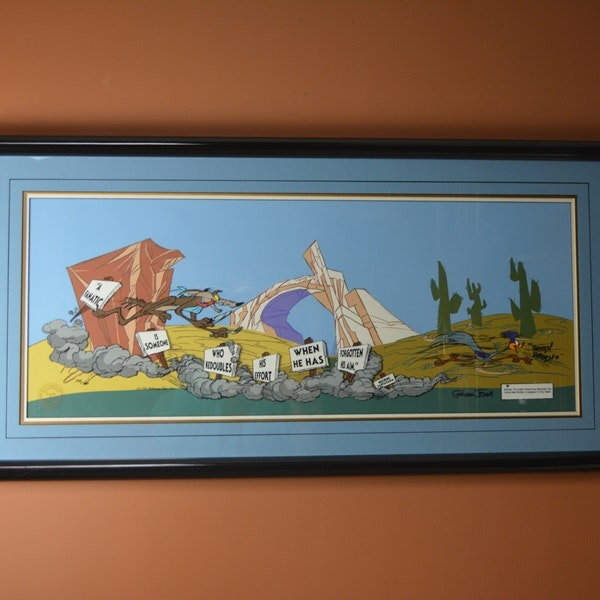 """Road Runner Auto Sales >> Road Runner and Wile E. Coyote """"The Fanatic"""" Signed Cartoon Cel : EBTH"""