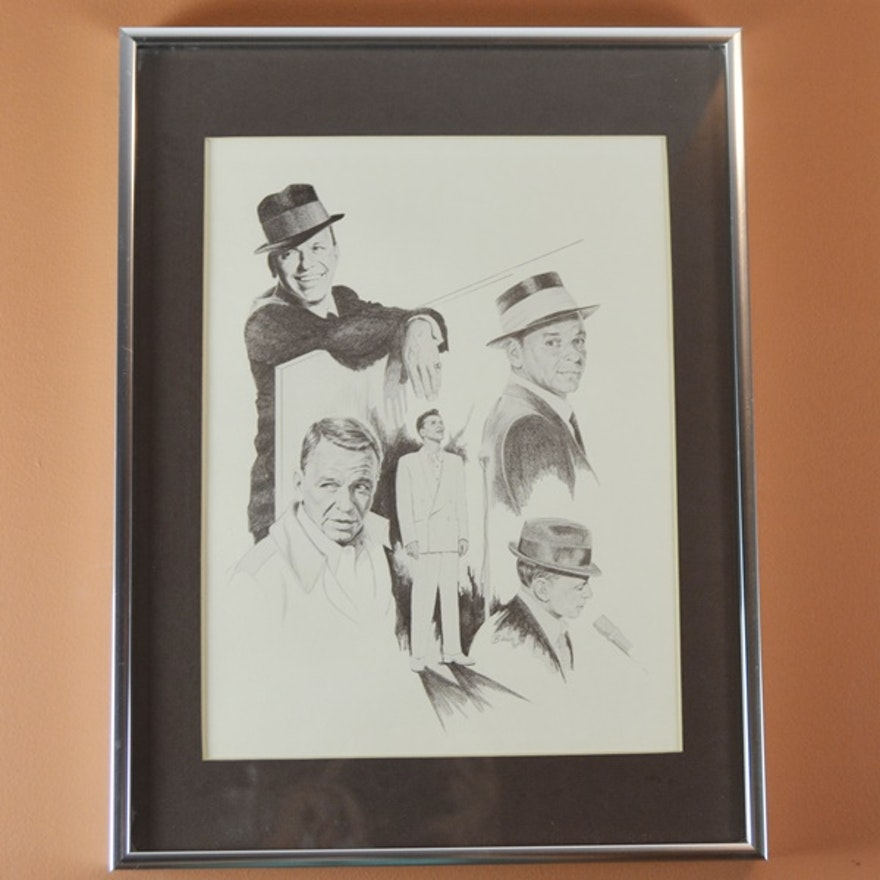 Frank Sinatra Montage Reproduction Pencil/Charcoal Drawing by Banse ...