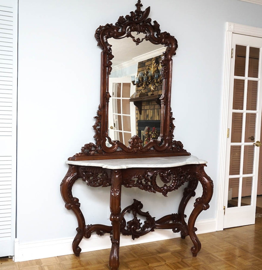 Ornate console table and mirror ebth - Ornate hall table ...
