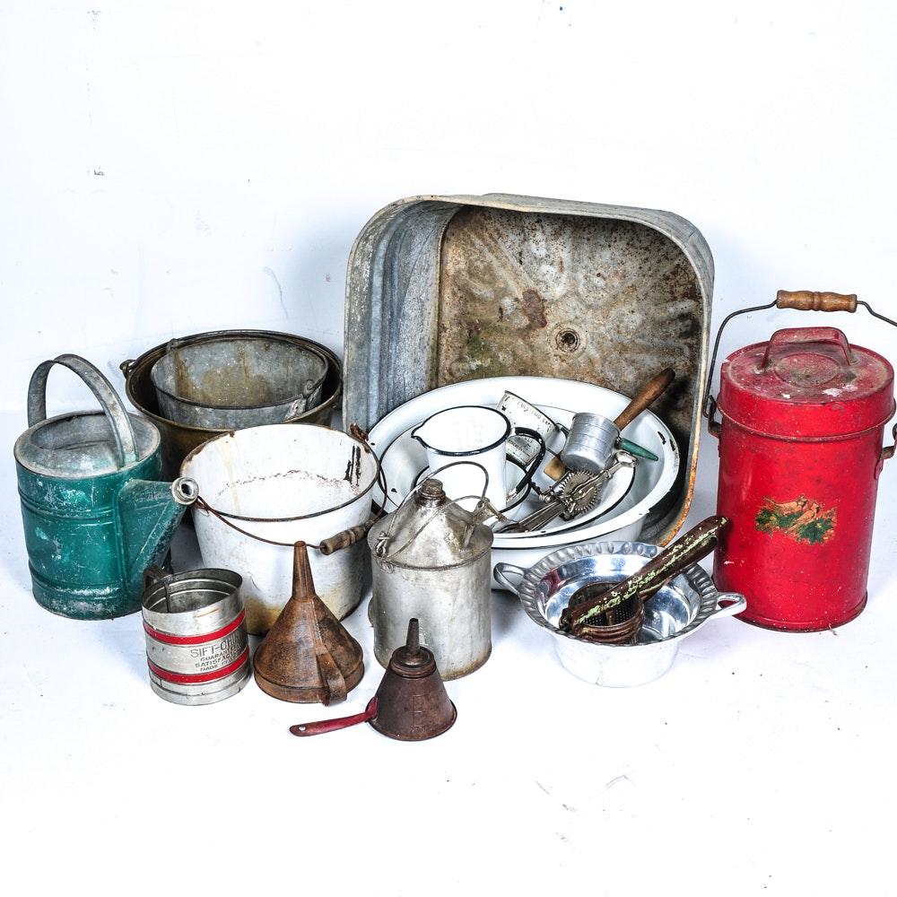 Vintage Metal Vessels And Kitchen Gadgets : EBTH