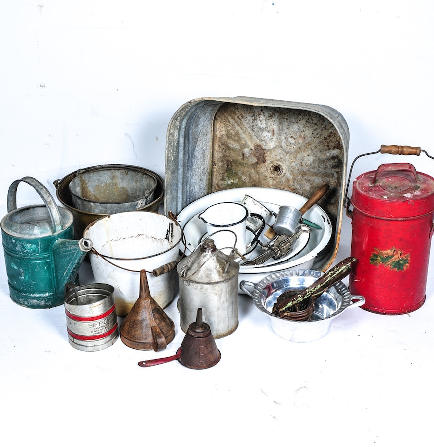 Vintage Metal Vessels And Kitchen Gadgets Ebth