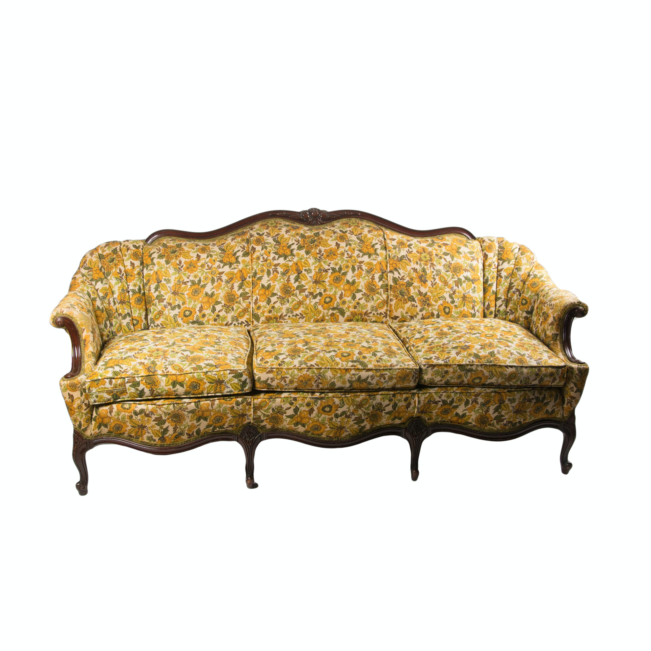 Vintage French Provincial Style Camelback Sofa Ebth