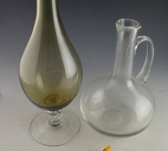 Decorative Wine Bottle Stoppers: Smoked Glass Wine Decanter, Pitcher, And Decorative Glass