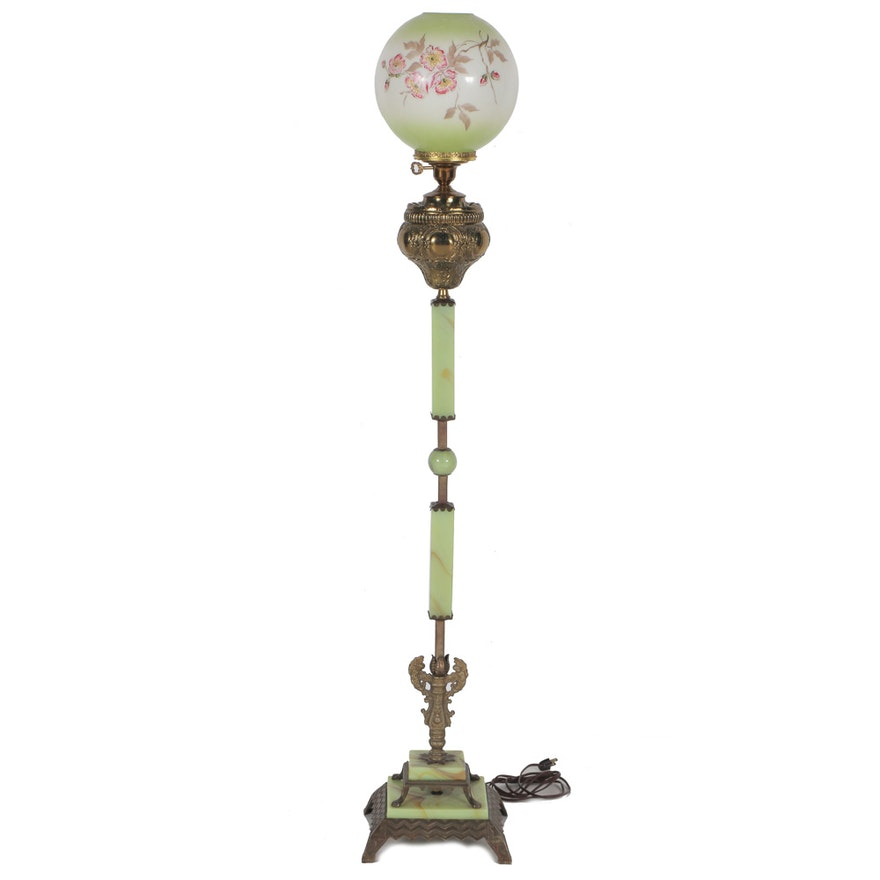 Vintage Jadite And Glass Globe Floor Lamp Ebth