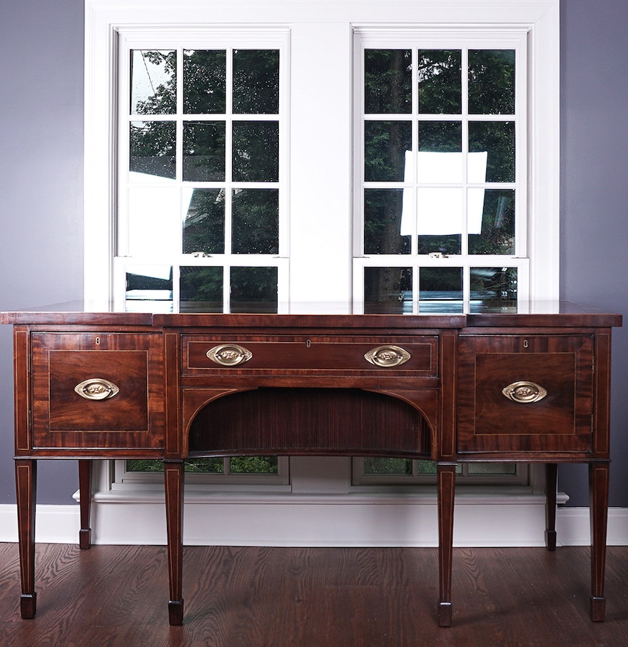 Antique Hepplewhite Style Breakfront Mahogany Sideboard : EBTH